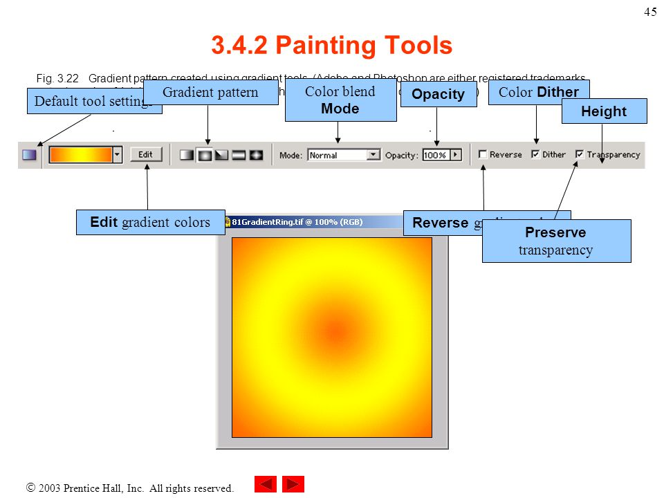  2003 Prentice Hall, Inc. All rights reserved. 45 3.4.2 Painting Tools Fig.