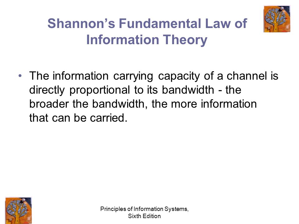 Principles of Information Systems, Sixth Edition Broadband Telecommunications in which a wide band of frequencies is available to transmit information, allowing more information to be transmitted in a given amount of time.