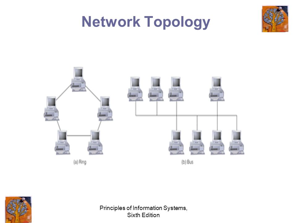 Principles of Information Systems, Sixth Edition Network Concepts and Considerations Network topology –Ring network –Bus network –Hierarchical –Star n