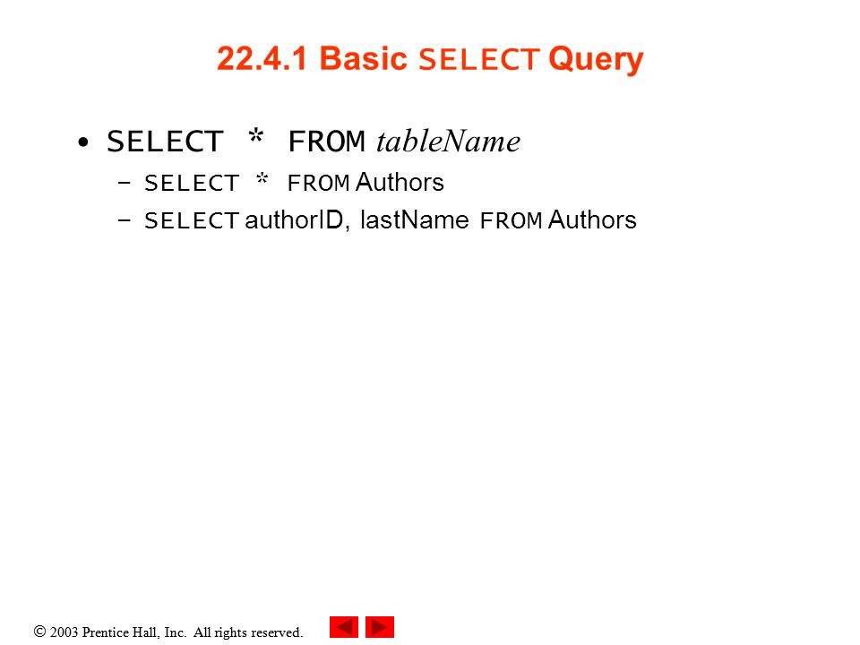  2003 Prentice Hall, Inc. All rights reserved. 22.4.1 Basic SELECT Query SELECT * FROM tableName –SELECT * FROM Authors –SELECT authorID, lastName FR