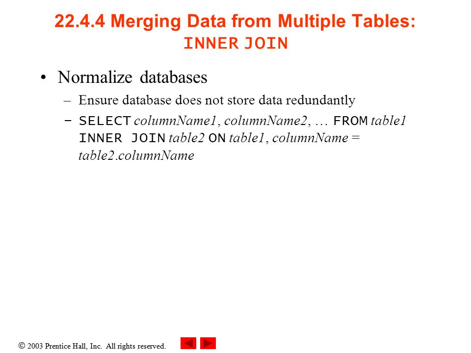  2003 Prentice Hall, Inc. All rights reserved. 22.4.4 Merging Data from Multiple Tables: INNER JOIN Normalize databases –Ensure database does not sto