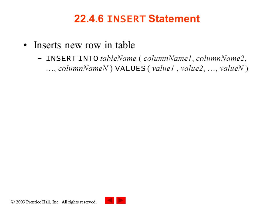  2003 Prentice Hall, Inc. All rights reserved. 22.4.6 INSERT Statement Inserts new row in table –INSERT INTO tableName ( columnName1, columnName2, …,