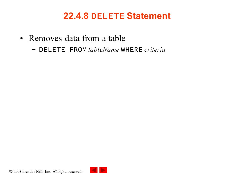  2003 Prentice Hall, Inc. All rights reserved. 22.4.8 DELETE Statement Removes data from a table –DELETE FROM tableName WHERE criteria