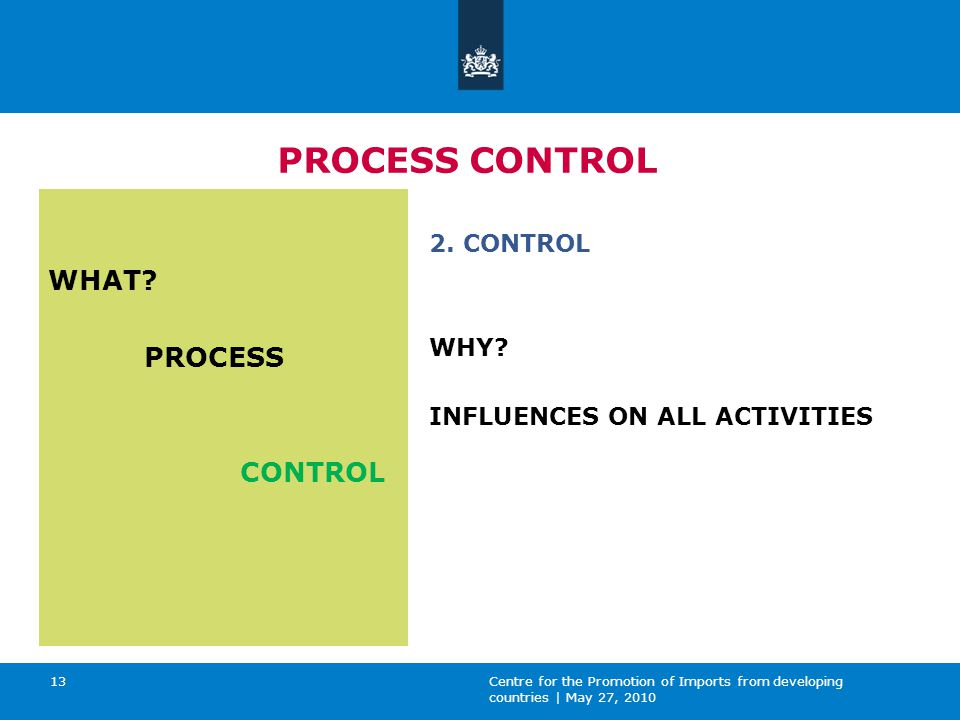 Centre for the Promotion of Imports from developing countries | May 27, 2010 13 PROCESS CONTROL WHAT.