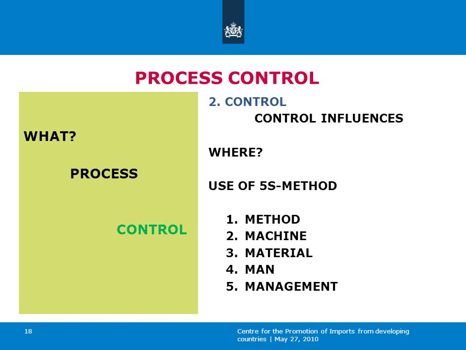 Centre for the Promotion of Imports from developing countries | May 27, 2010 18 PROCESS CONTROL WHAT.
