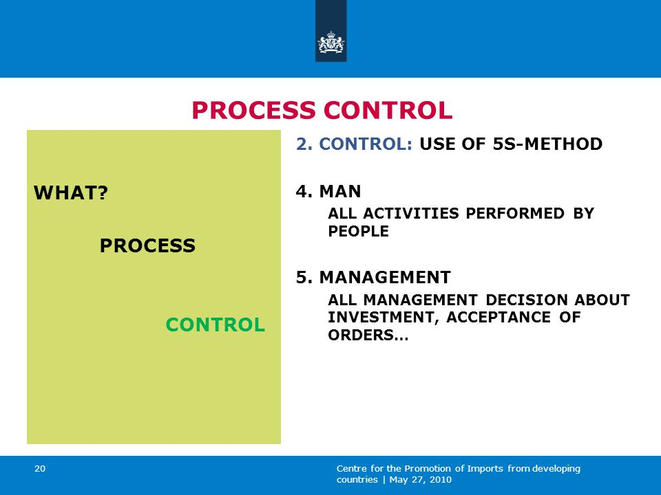Centre for the Promotion of Imports from developing countries | May 27, 2010 20 PROCESS CONTROL WHAT.