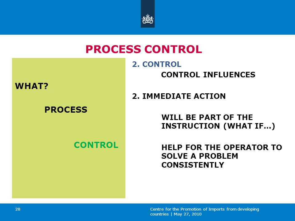 Centre for the Promotion of Imports from developing countries | May 27, 2010 28 PROCESS CONTROL WHAT.