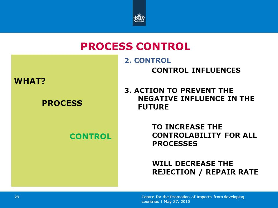 Centre for the Promotion of Imports from developing countries | May 27, 2010 29 PROCESS CONTROL WHAT.