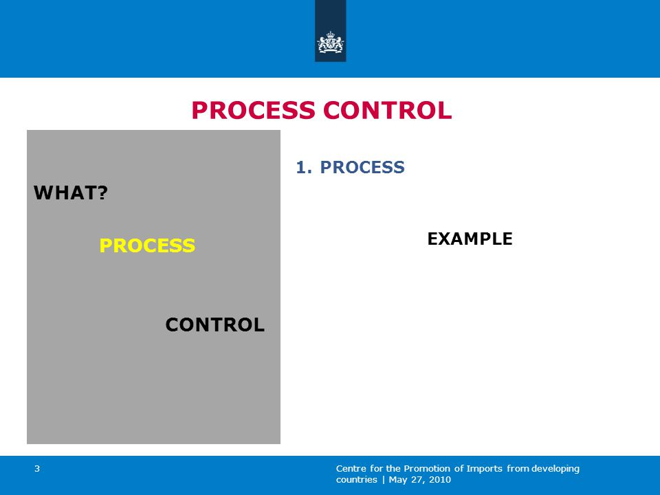Centre for the Promotion of Imports from developing countries | May 27, 2010 3 PROCESS CONTROL WHAT.