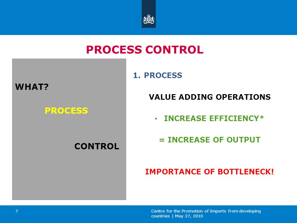 Centre for the Promotion of Imports from developing countries | May 27, 2010 7 PROCESS CONTROL WHAT.