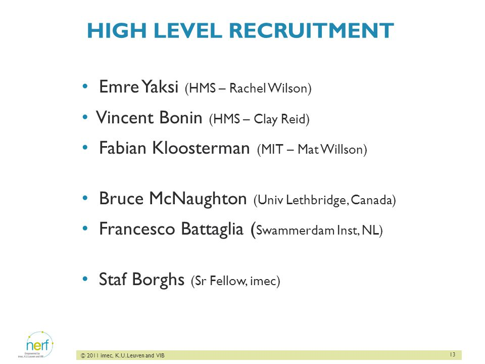 13 © 2011 imec, K.U.Leuven and VIB HIGH LEVEL RECRUITMENT Emre Yaksi (HMS – Rachel Wilson) Vincent Bonin (HMS – Clay Reid) Fabian Kloosterman (MIT – Mat Willson) Bruce McNaughton (Univ Lethbridge, Canada) Francesco Battaglia ( Swammerdam Inst, NL) Staf Borghs (Sr Fellow, imec)