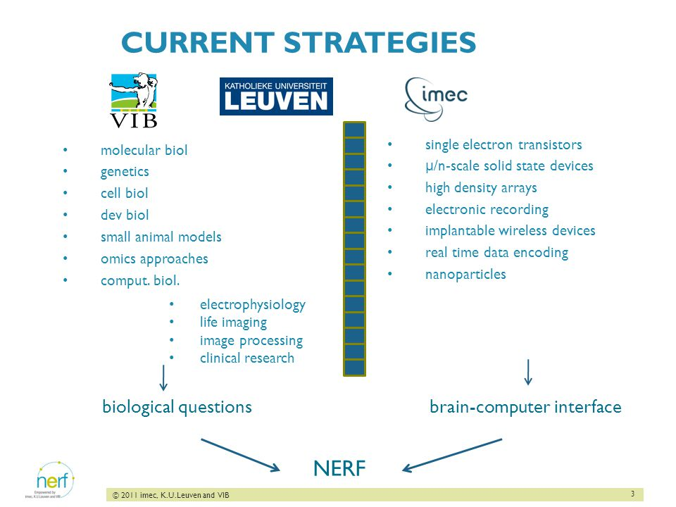 3 © 2011 imec, K.U.Leuven and VIB CURRENT STRATEGIES molecular biol genetics cell biol dev biol small animal models omics approaches comput.