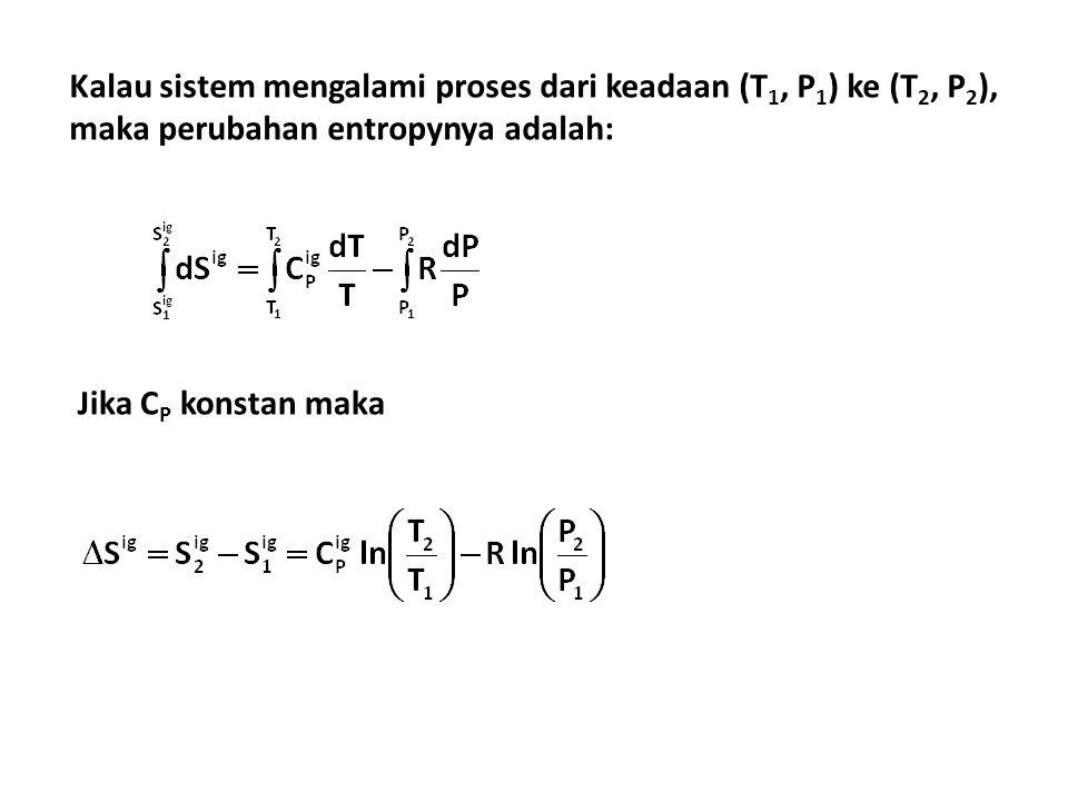 Kalau sistem mengalami proses dari keadaan (T 1, P 1 ) ke (T 2, P 2 ), maka perubahan entropynya adalah: Jika C P konstan maka