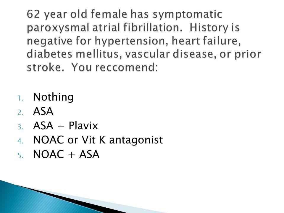 1. Nothing 2. ASA 3. ASA + Plavix 4. NOAC or Vit K antagonist 5. NOAC + ASA