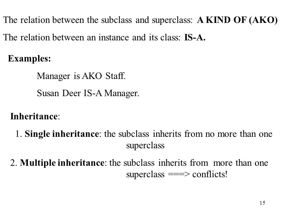 15 The relation between the subclass and superclass: A KIND OF (AKO) The relation between an instance and its class: IS-A.