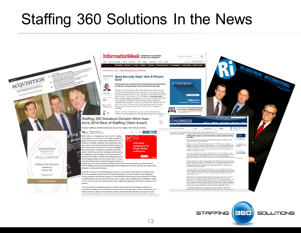 13 Staffing 360 Solutions In the News