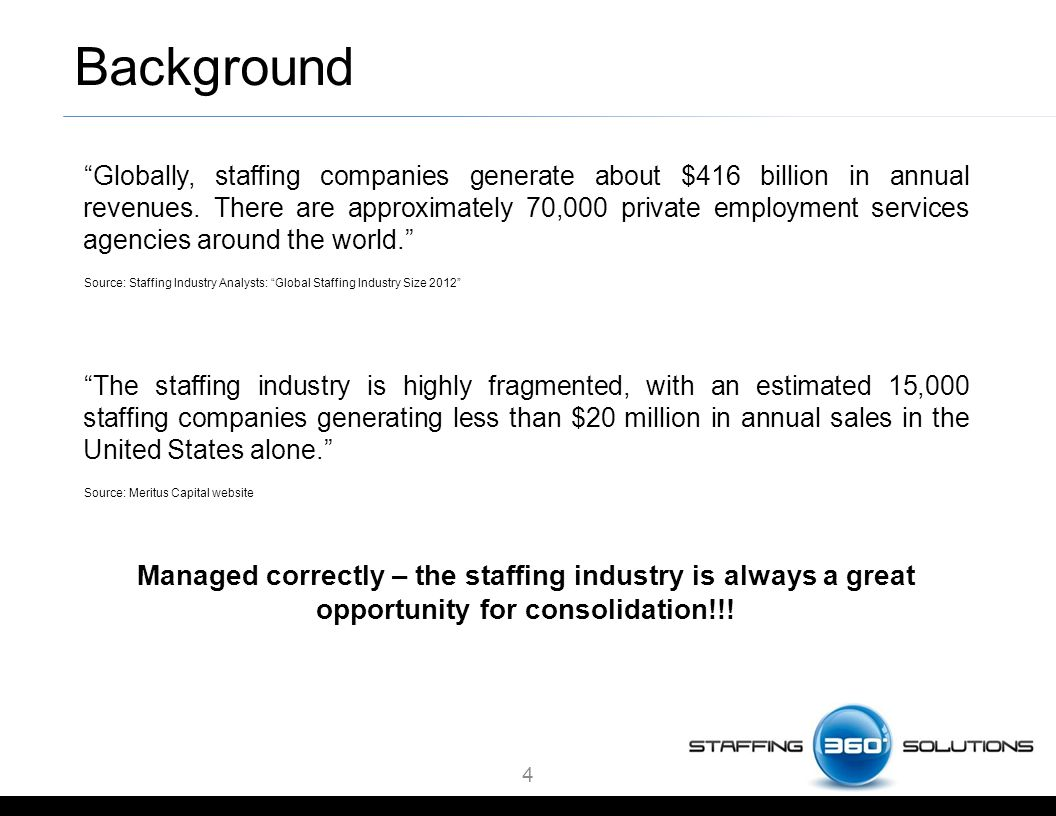 Background Globally, staffing companies generate about $416 billion in annual revenues.