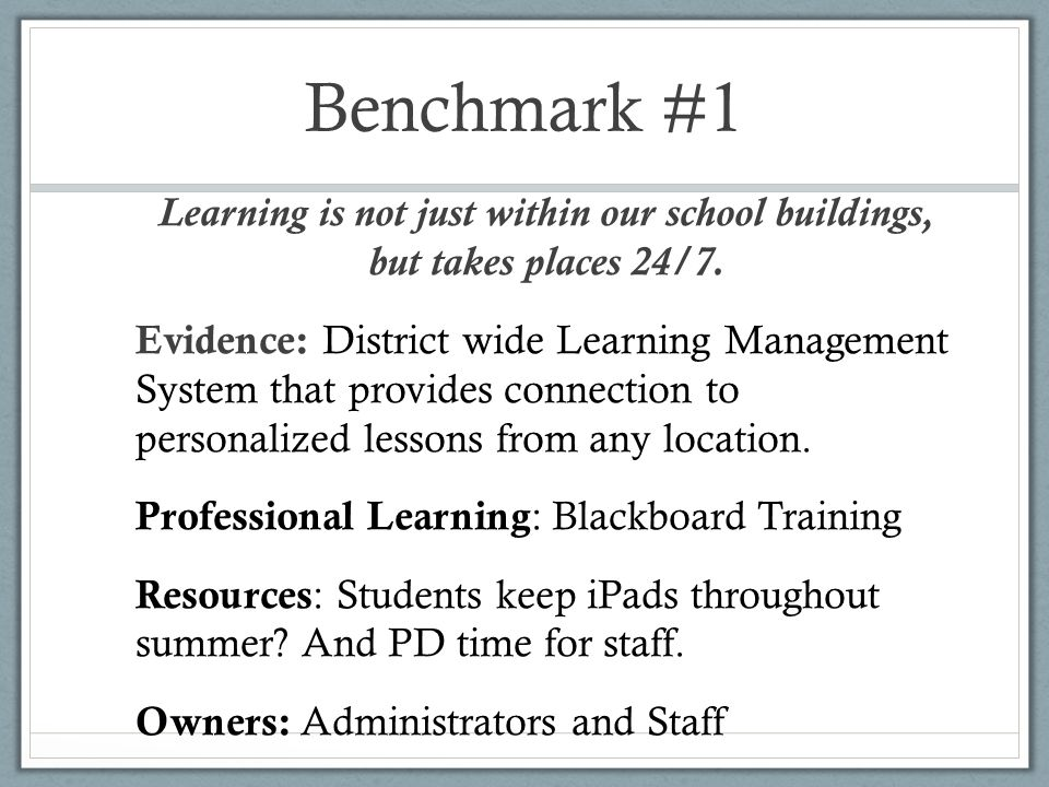 Benchmark #1 Learning is not just within our school buildings, but takes places 24/7.