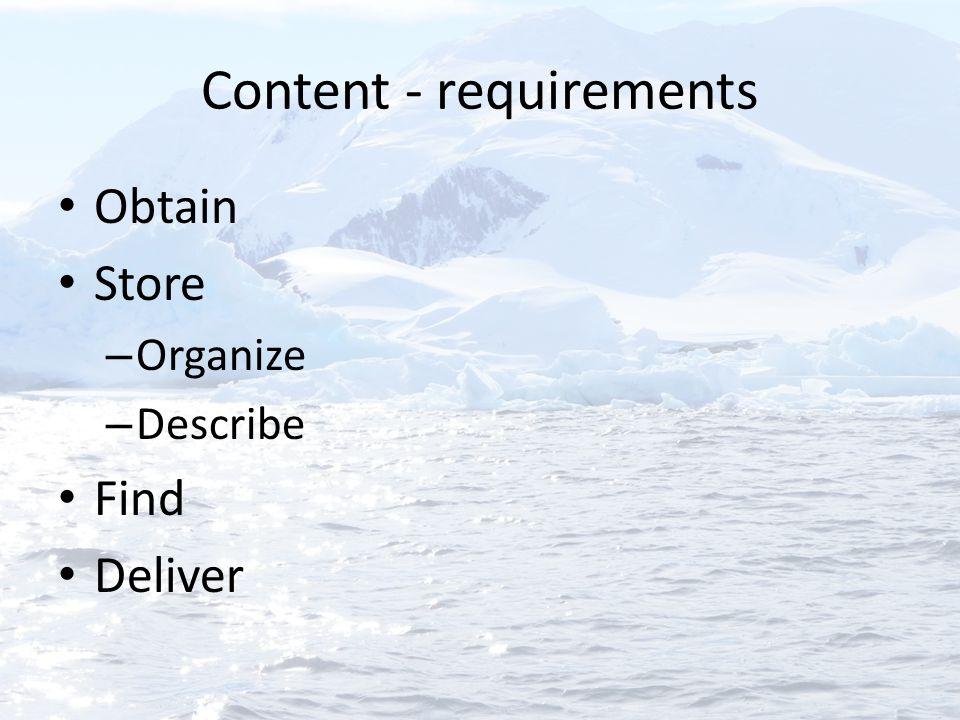 Content - requirements Obtain Store – Organize – Describe Find Deliver