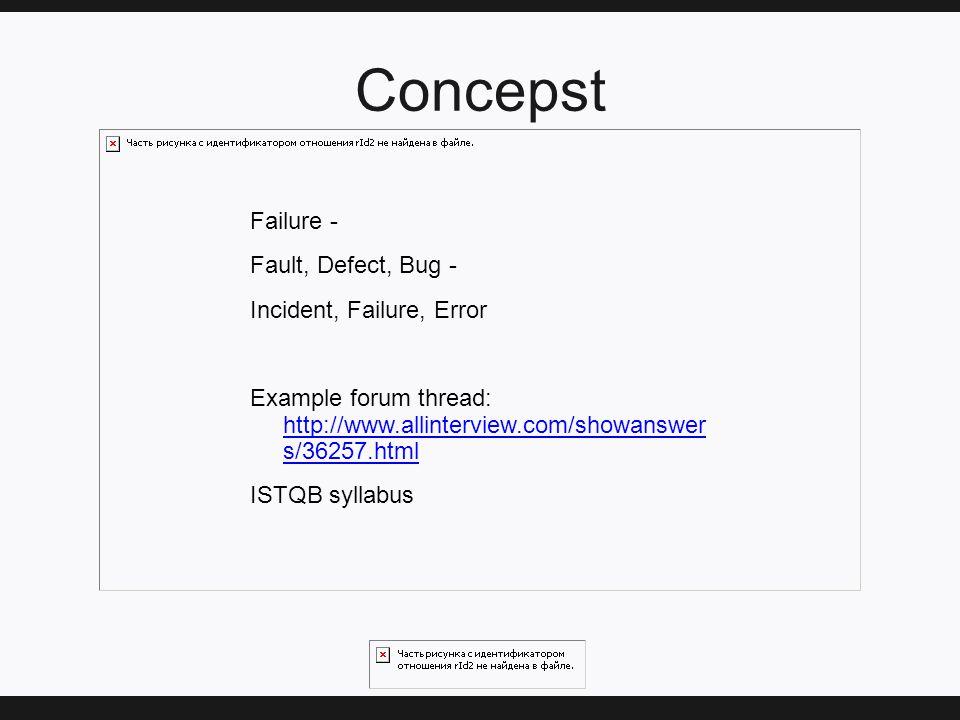 Concepst Failure - Fault, Defect, Bug - Incident, Failure, Error Example forum thread: http://www.allinterview.com/showanswer s/36257.html http://www.allinterview.com/showanswer s/36257.html ISTQB syllabus
