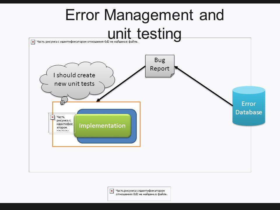 Error Management and unit testing Implementation Error Database Bug Report Bug Report I should create new unit tests