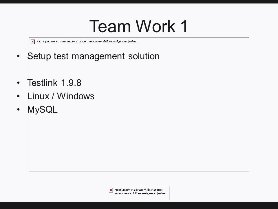 Team Work 1 Setup test management solution Testlink 1.9.8 Linux / Windows MySQL