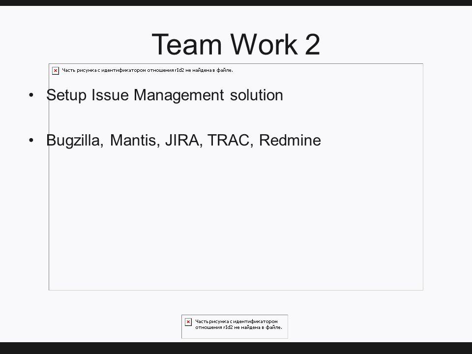 Team Work 2 Setup Issue Management solution Bugzilla, Mantis, JIRA, TRAC, Redmine