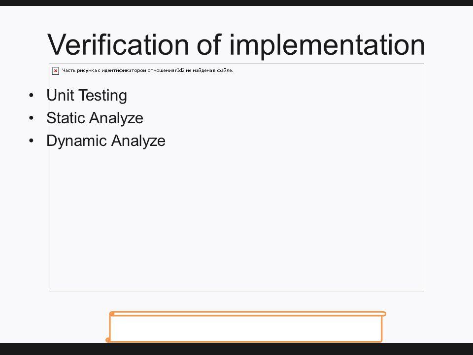 Verification of implementation Unit Testing Static Analyze Dynamic Analyze