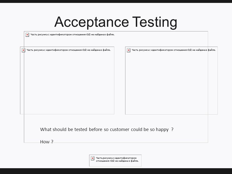 Acceptance Testing What should be tested before so customer could be so happy ? How ?