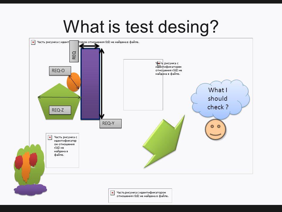 What is test desing IDEAL REQ-Y REQ-Z REQ-O REQ What I should check