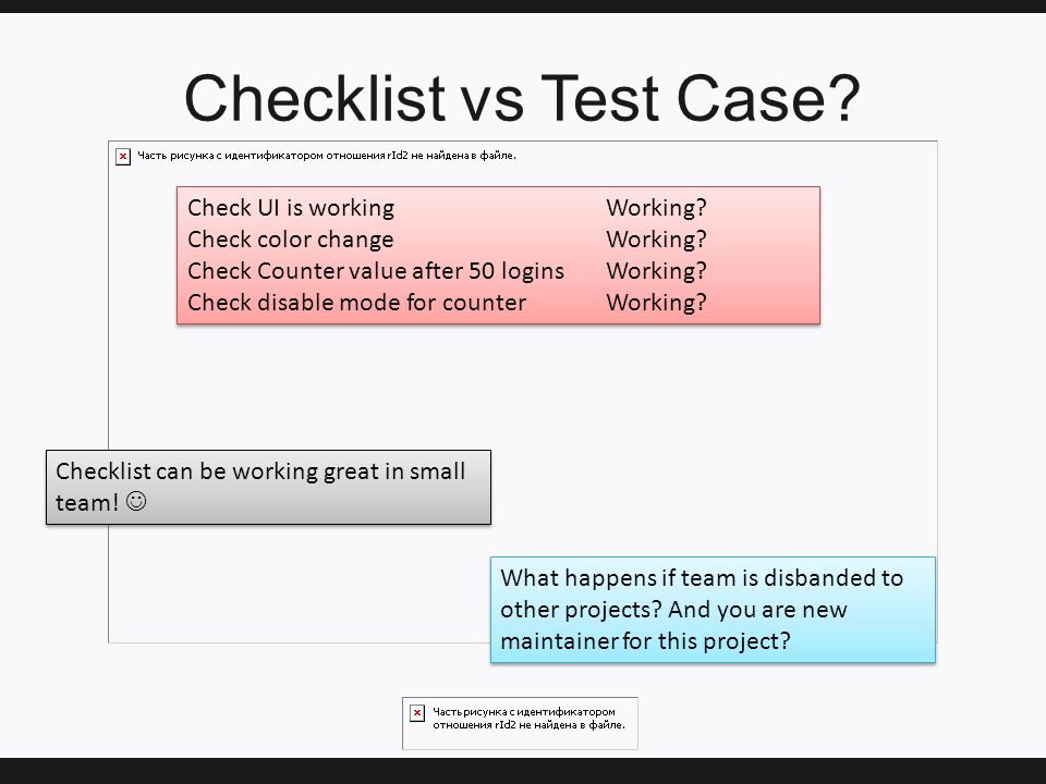 Checklist vs Test Case. Check UI is workingWorking.