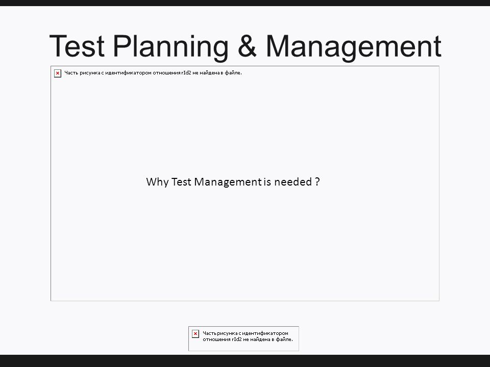 Test Planning & Management Why Test Management is needed