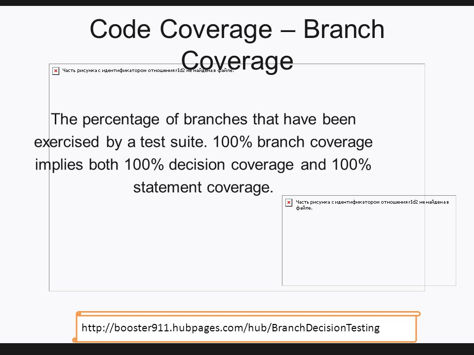 Code Coverage – Branch Coverage The percentage of branches that have been exercised by a test suite.