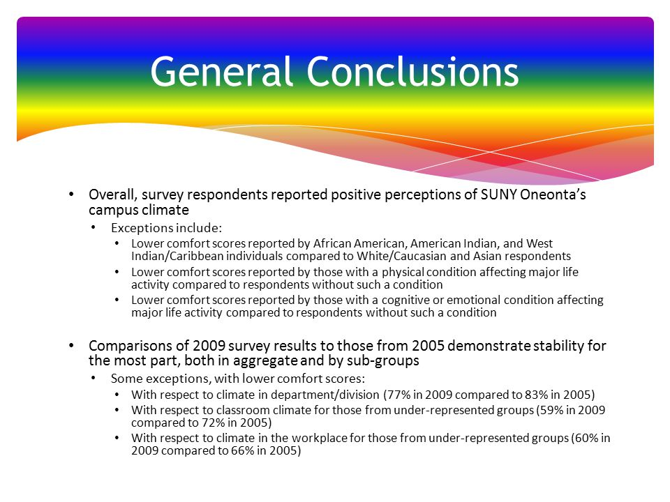 Overall, survey respondents reported positive perceptions of SUNY Oneonta's campus climate Exceptions include: Lower comfort scores reported by African American, American Indian, and West Indian/Caribbean individuals compared to White/Caucasian and Asian respondents Lower comfort scores reported by those with a physical condition affecting major life activity compared to respondents without such a condition Lower comfort scores reported by those with a cognitive or emotional condition affecting major life activity compared to respondents without such a condition Comparisons of 2009 survey results to those from 2005 demonstrate stability for the most part, both in aggregate and by sub-groups Some exceptions, with lower comfort scores: With respect to climate in department/division (77% in 2009 compared to 83% in 2005) With respect to classroom climate for those from under-represented groups (59% in 2009 compared to 72% in 2005) With respect to climate in the workplace for those from under-represented groups (60% in 2009 compared to 66% in 2005) General Conclusions