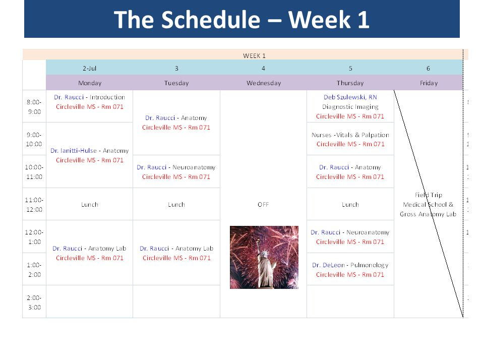 The Schedule – Week 1