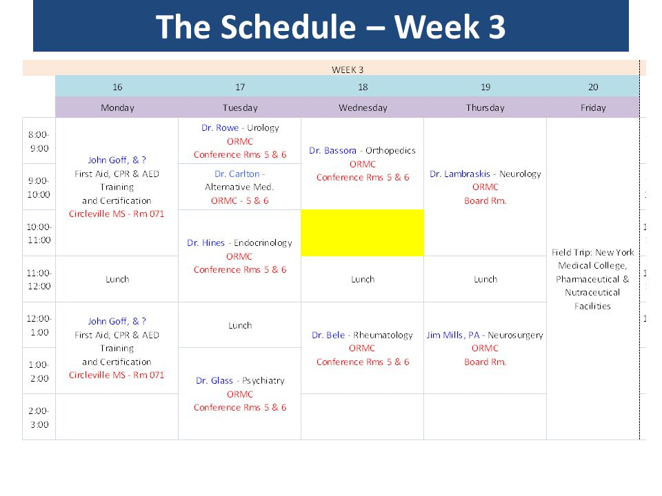 The Schedule – Week 3