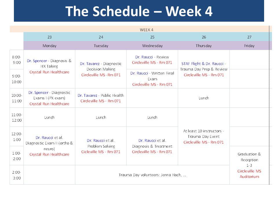 The Schedule – Week 4