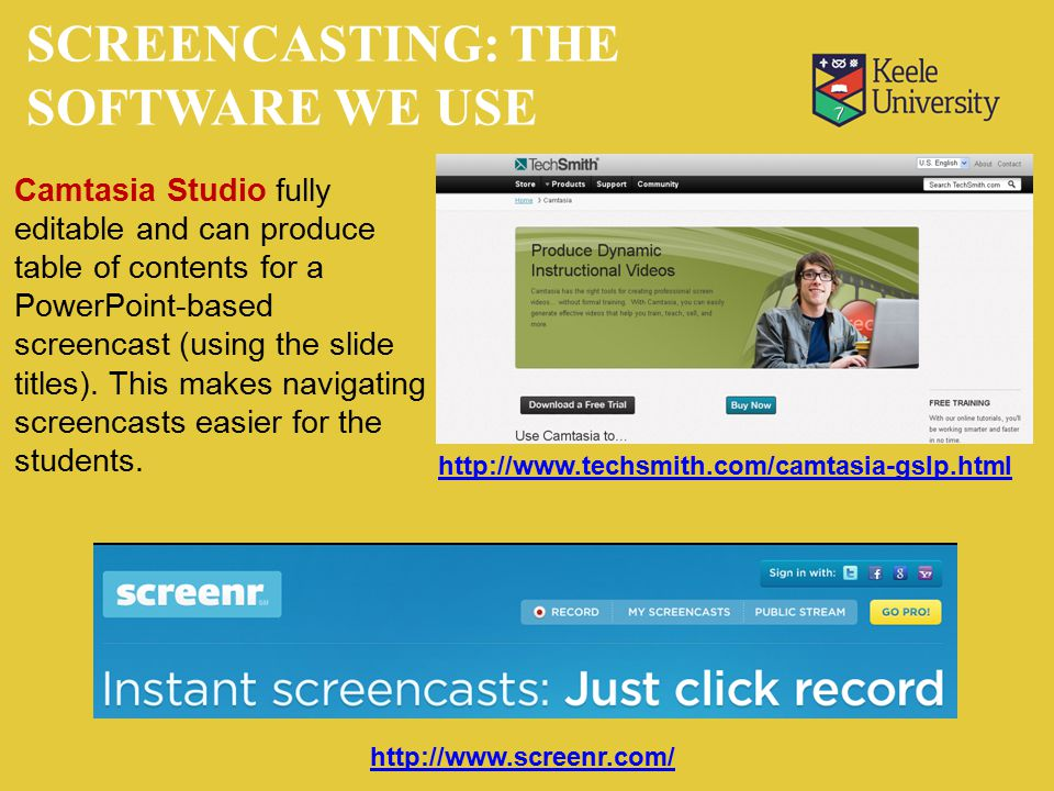 http://www.screenr.com/ http://www.techsmith.com/camtasia-gslp.html Camtasia Studio fully editable and can produce table of contents for a PowerPoint-based screencast (using the slide titles).