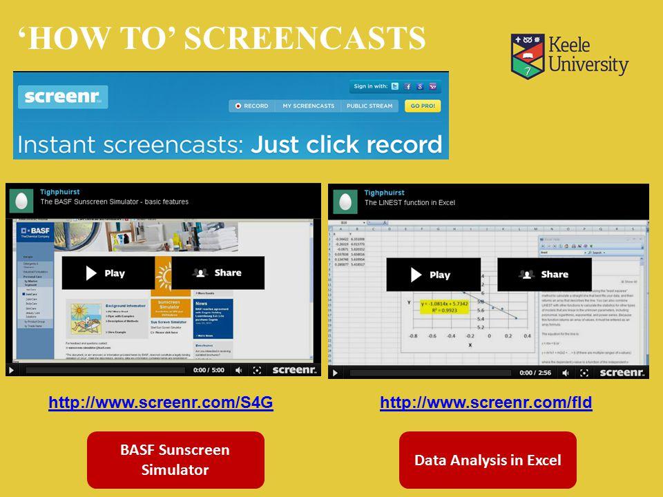 http://www.screenr.com/S4Ghttp://www.screenr.com/fId Data Analysis in Excel BASF Sunscreen Simulator 'HOW TO' SCREENCASTS