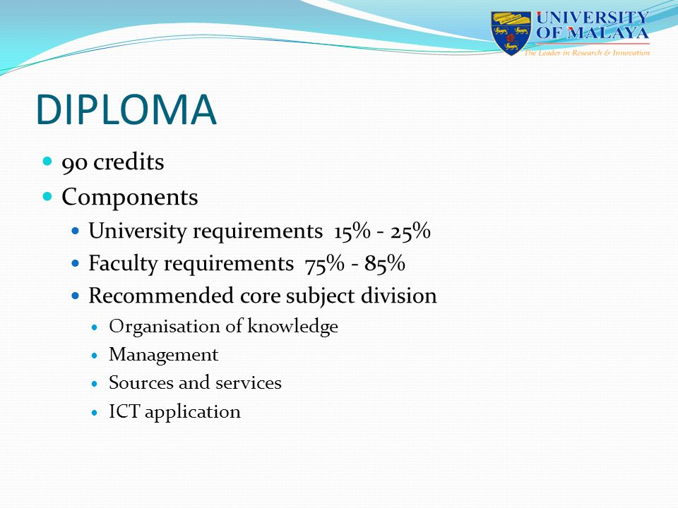 DIPLOMA 90 credits Components University requirements 15% - 25% Faculty requirements 75% - 85% Recommended core subject division Organisation of knowledge Management Sources and services ICT application