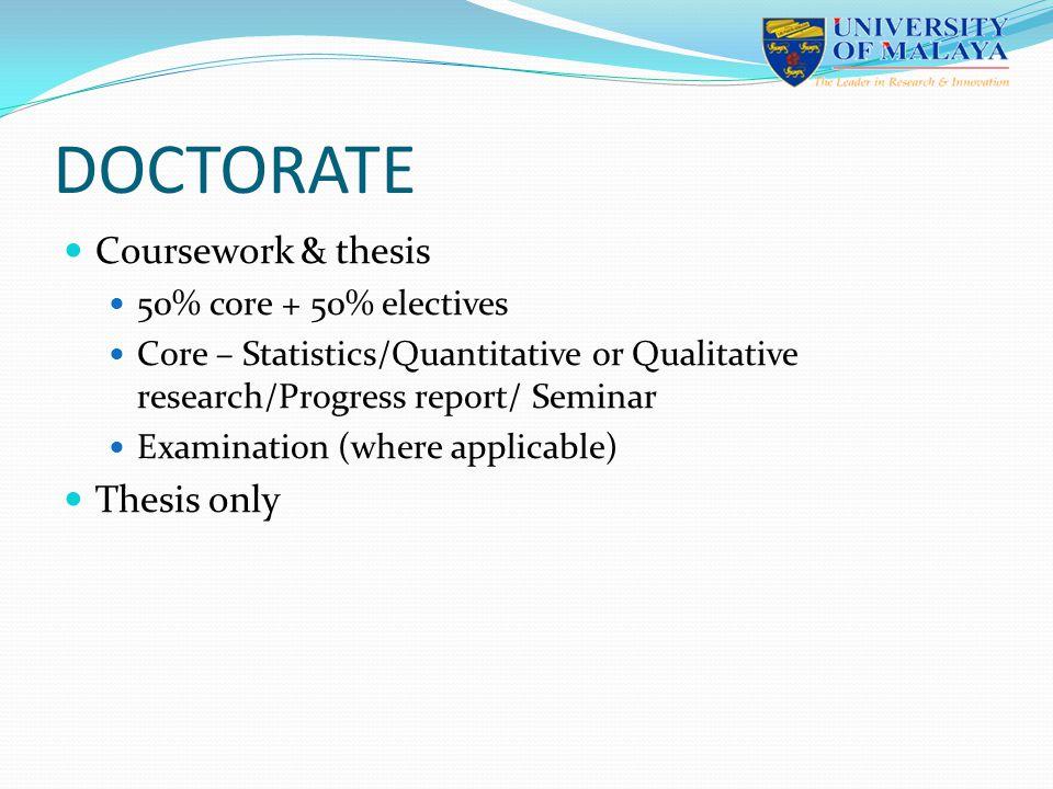DOCTORATE Coursework & thesis 50% core + 50% electives Core – Statistics/Quantitative or Qualitative research/Progress report/ Seminar Examination (wh