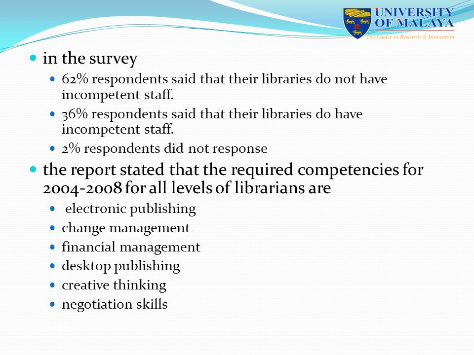 in the survey 62% respondents said that their libraries do not have incompetent staff.