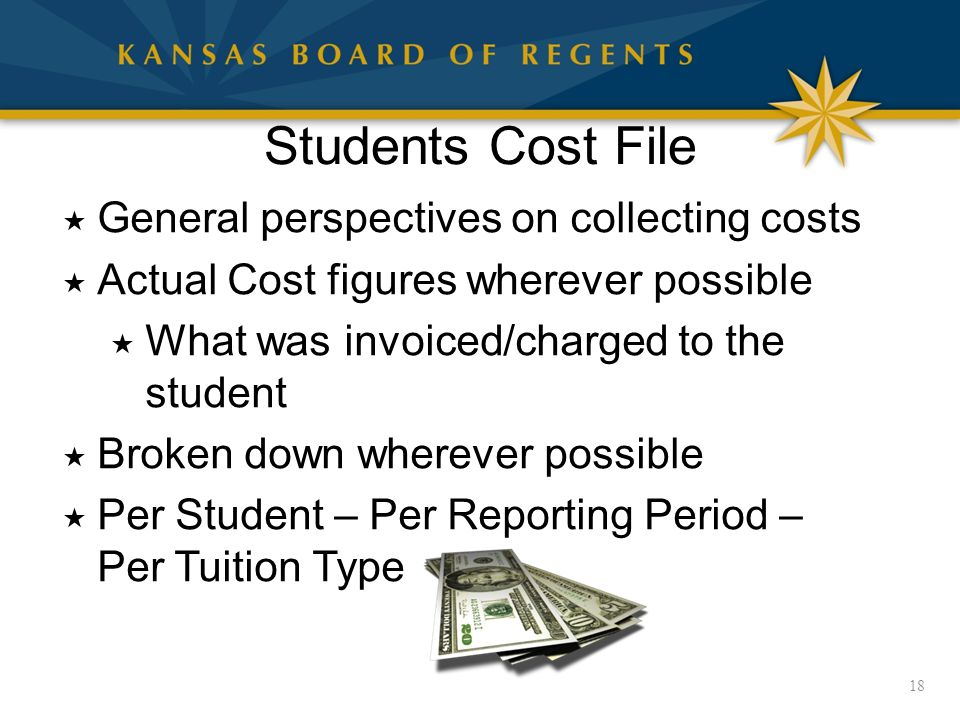 Students Cost File 18  General perspectives on collecting costs  Actual Cost figures wherever possible  What was invoiced/charged to the student  Broken down wherever possible  Per Student – Per Reporting Period – Per Tuition Type