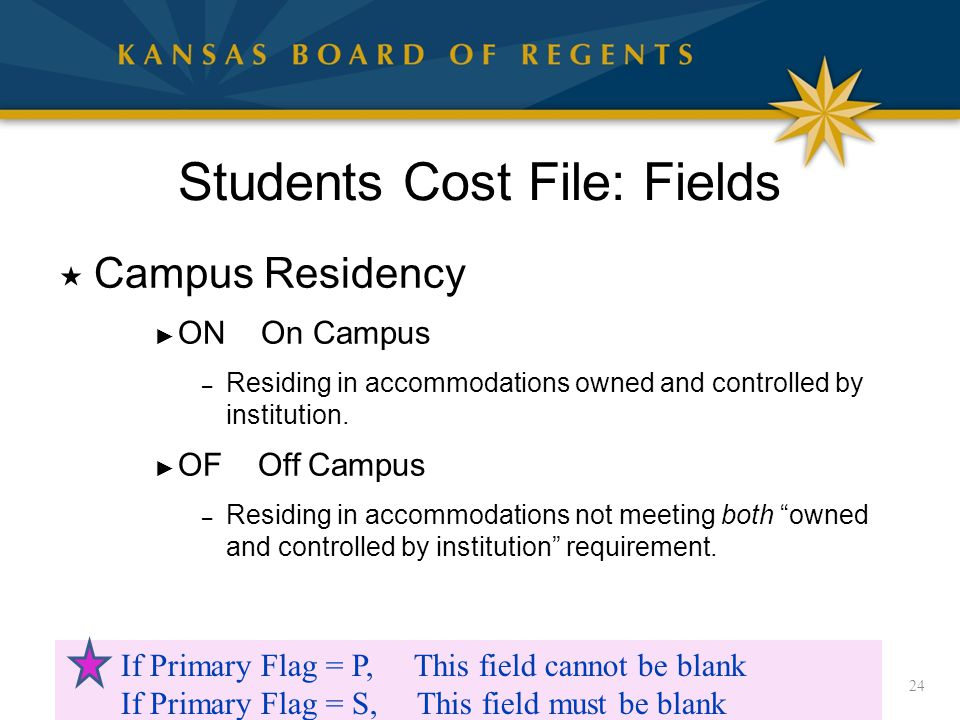 Students Cost File: Fields  Campus Residency ► ON On Campus – Residing in accommodations owned and controlled by institution.