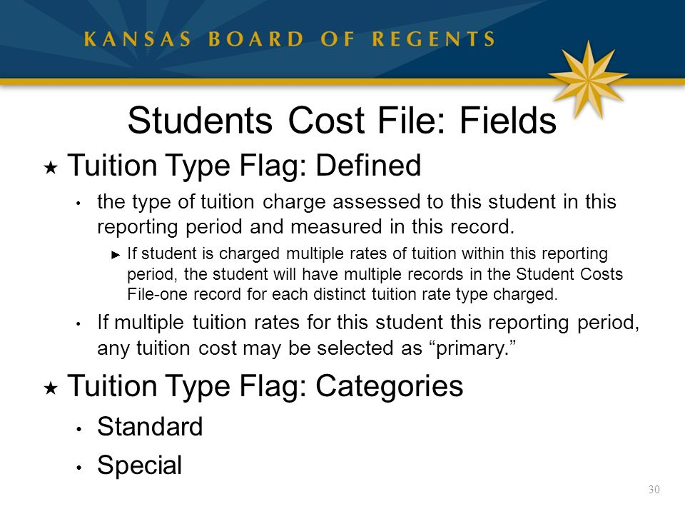 Students Cost File: Fields  Tuition Type Flag: Defined the type of tuition charge assessed to this student in this reporting period and measured in this record.