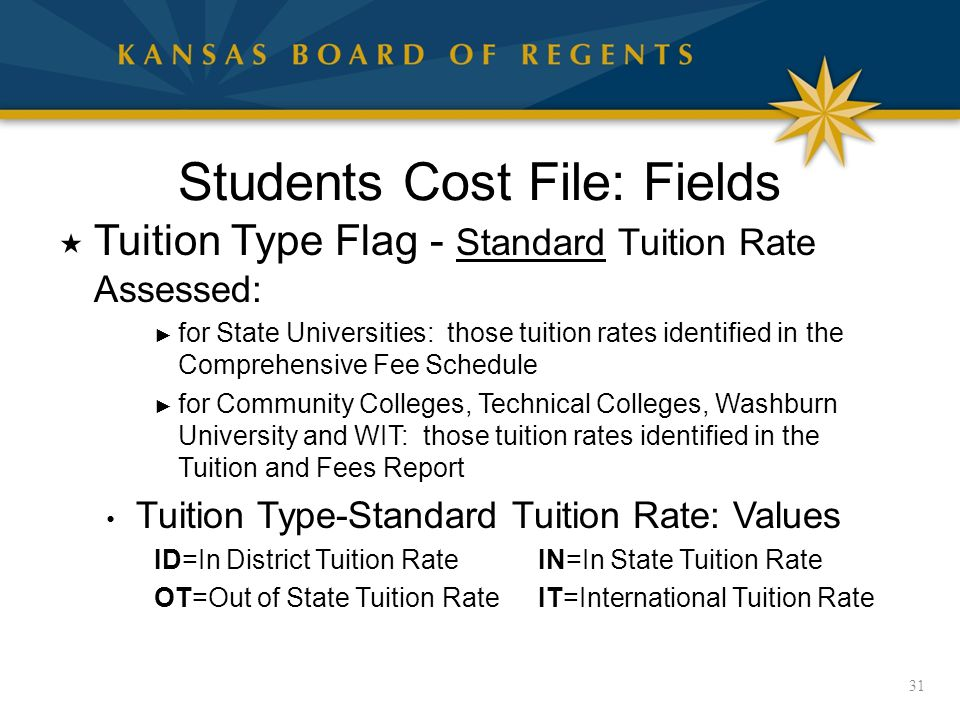 Students Cost File: Fields  Tuition Type Flag - Standard Tuition Rate Assessed: ► for State Universities: those tuition rates identified in the Comprehensive Fee Schedule ► for Community Colleges, Technical Colleges, Washburn University and WIT: those tuition rates identified in the Tuition and Fees Report Tuition Type-Standard Tuition Rate: Values ID=In District Tuition RateIN=In State Tuition Rate OT=Out of State Tuition RateIT=International Tuition Rate 31
