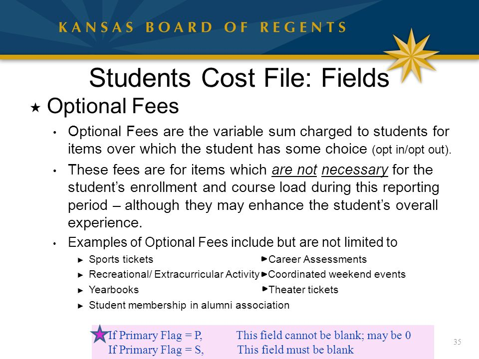 Students Cost File: Fields  Optional Fees Optional Fees are the variable sum charged to students for items over which the student has some choice (opt in/opt out).