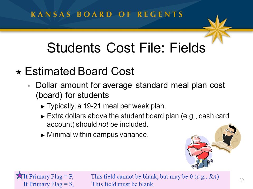 Students Cost File: Fields  Estimated Board Cost Dollar amount for average standard meal plan cost (board) for students ► Typically, a 19-21 meal per week plan.