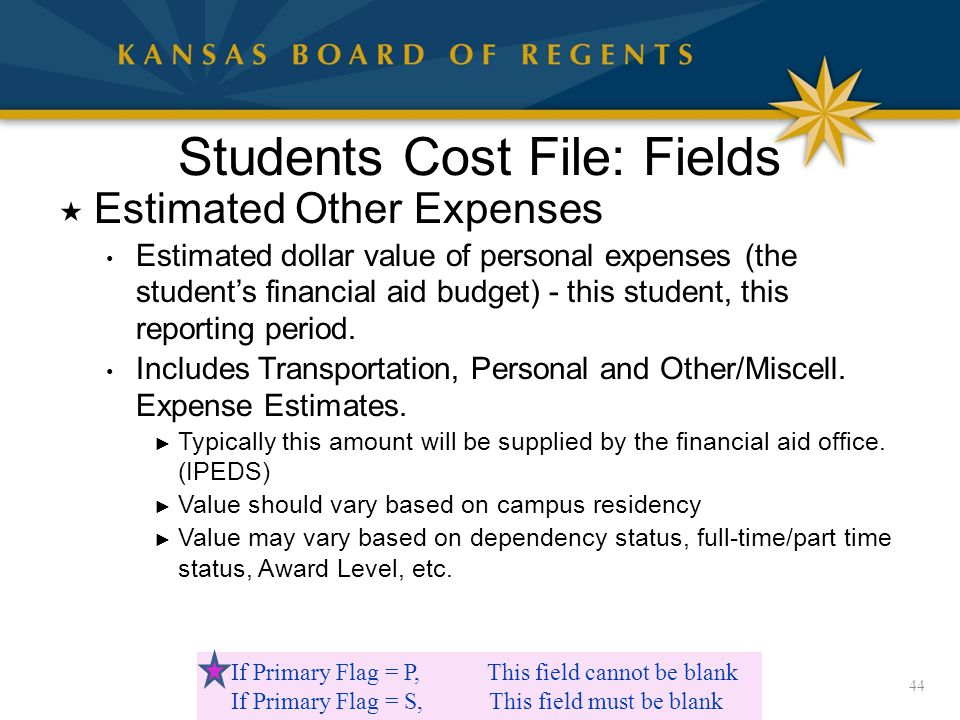 Students Cost File: Fields  Estimated Other Expenses Estimated dollar value of personal expenses (the student's financial aid budget) - this student, this reporting period.