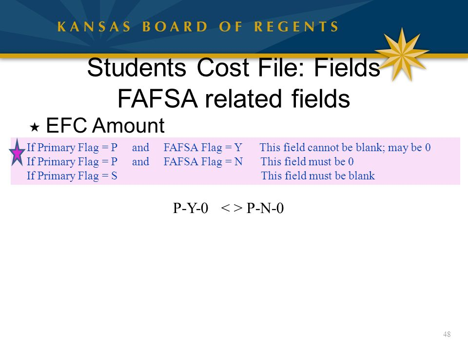 Students Cost File: Fields FAFSA related fields  EFC Amount 48 If Primary Flag = P and FAFSA Flag = Y This field cannot be blank; may be 0 If Primary Flag = P and FAFSA Flag = N This field must be 0 If Primary Flag = S This field must be blank P-Y-0 P-N-0